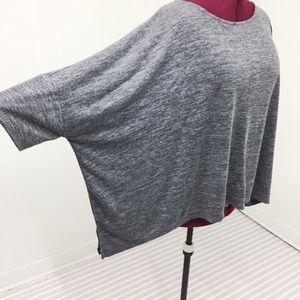 XL | 1X Heather Grey Batwing Drapey Flowy Top